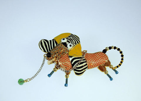 Dog with Leash Porcelain and mixed media pin