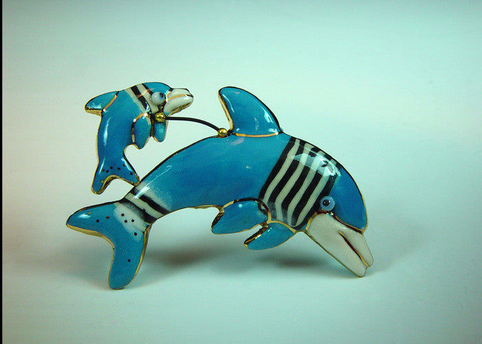 Blue Dolphin porcelain and mixed media pin