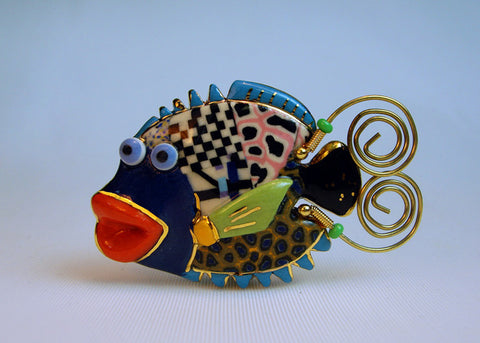 Fish Porcelain and mixed media pin