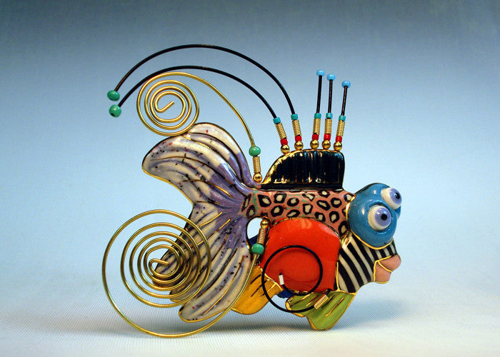 Gold Fish Porcelain and mixed media pin