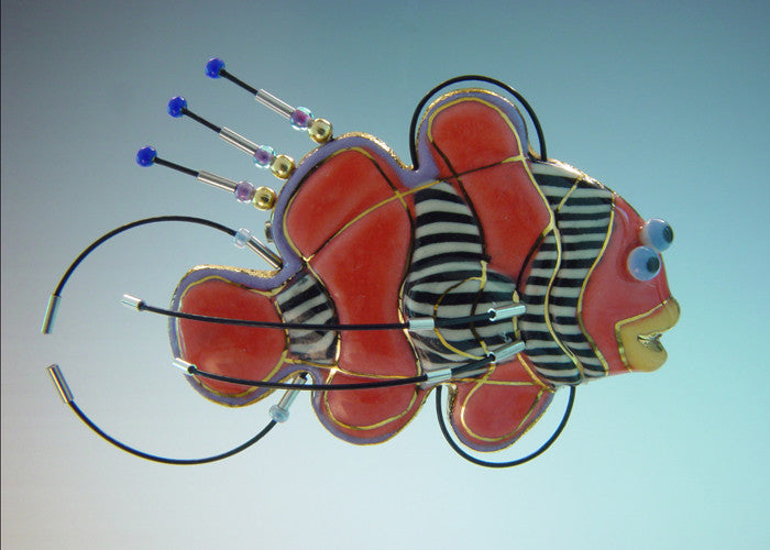 Clown Fish Porcelain and mixed media pin