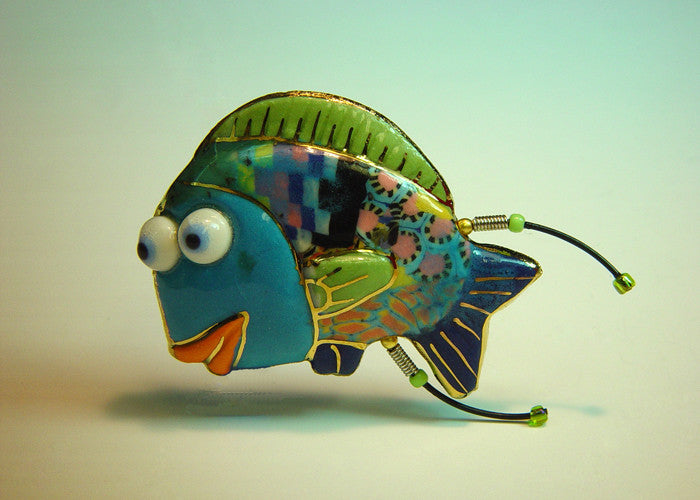 Blue Sergeant Fish porcelain and mixed media pin