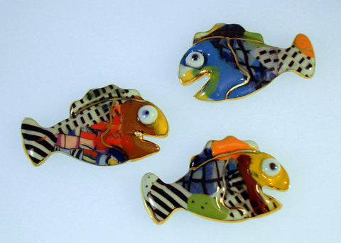 Tiny baby fish porcelain and mixed media pins