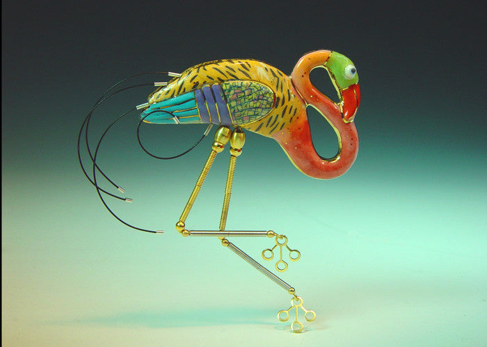 Flamingo Porcelain and mixed media pin