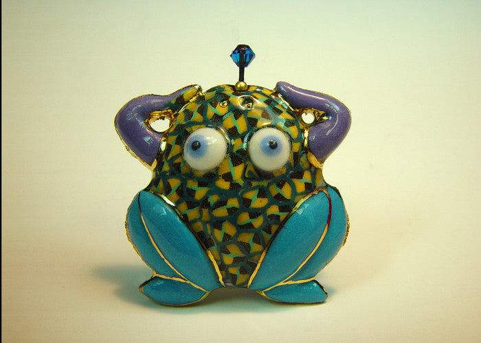 Plump Tree frog porcelain and mixed media pin