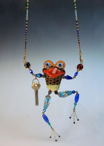 Frog Roli Bar pin and  beads Necklace