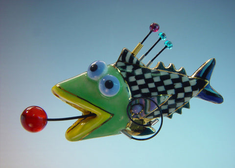Checker Fish Porcelain and mixed media pin