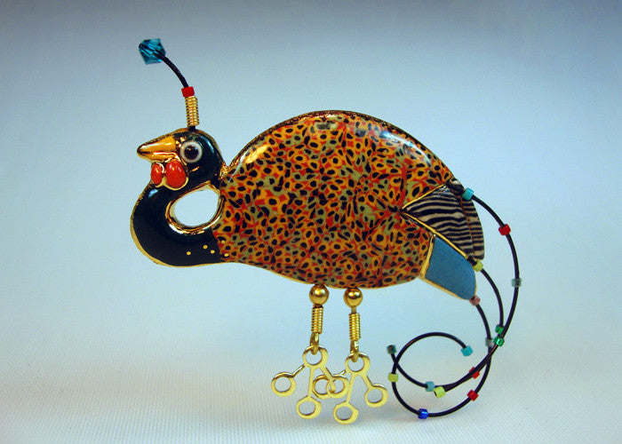 Fowl bird Porcelain and mixed media pin