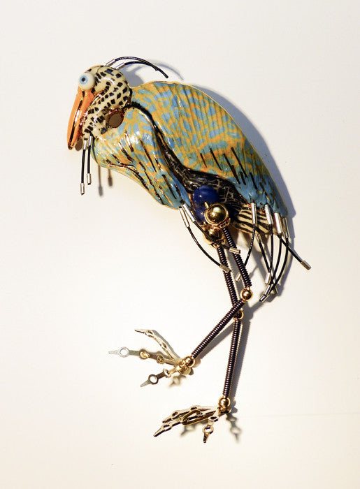 Ble Heron porcelain and mixed media pin
