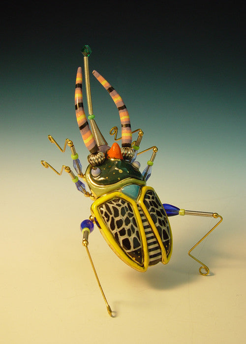 Horned Scarab Beetle Porcelain and mixed media pin