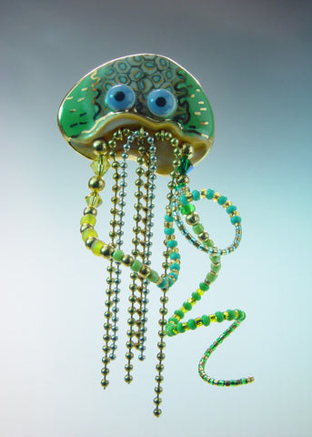 Jellyfish Porcelain and mixed media pin