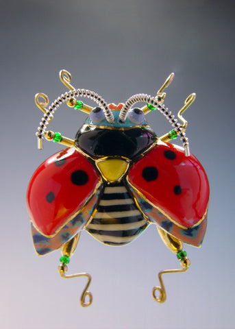 Ladybug/landing porcelain and mixed media pin