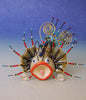 Lion fish porcelain and mixed media pin
