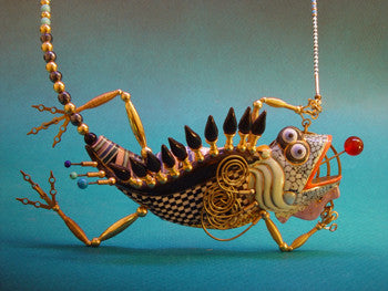 Lizard necklace porcelain and mixed media
