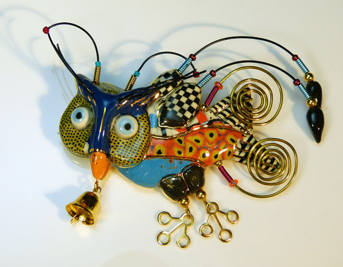 Owl porcelain and mixed media pin