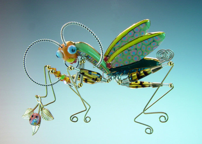 Praying Mantis porcelain and mixed media pin