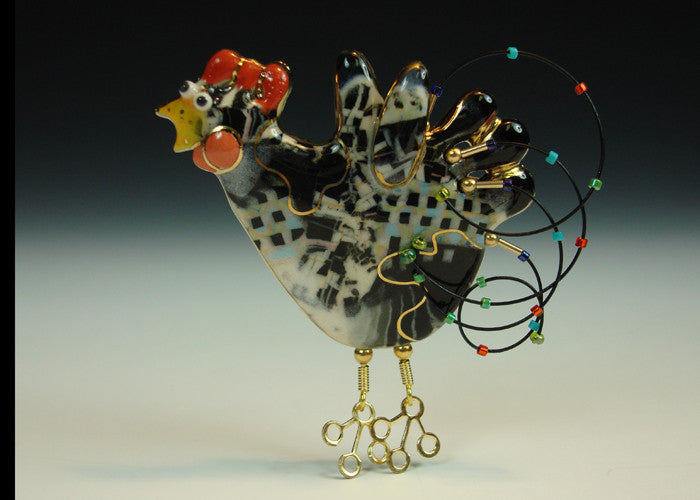 Rooster black and white porcelain and mixed media
