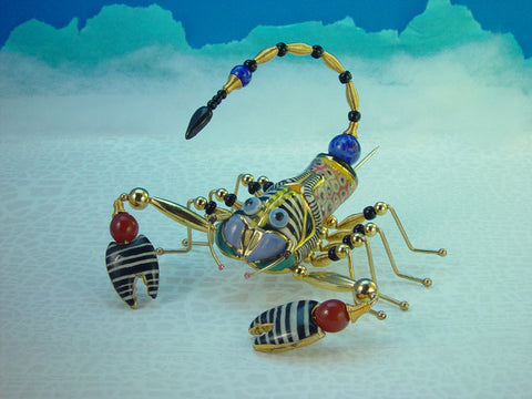 Large Scorpion Porcelain and mixed media pin
