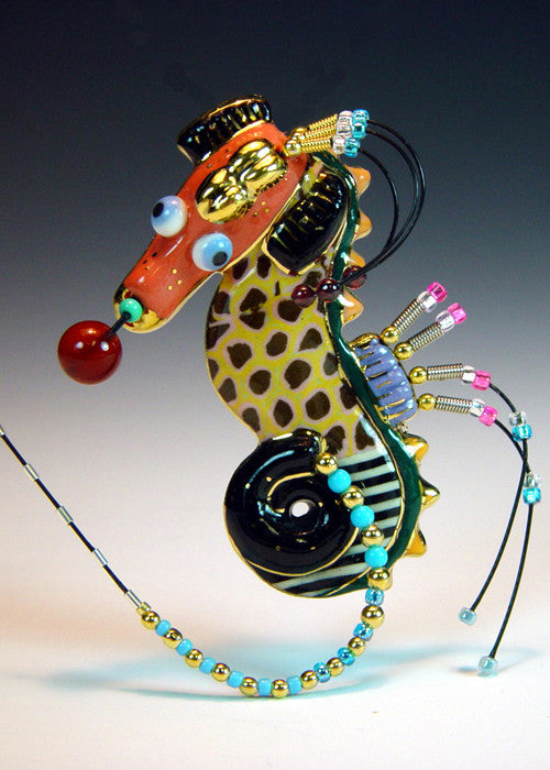 Seahorse porcelain and mixed media pin