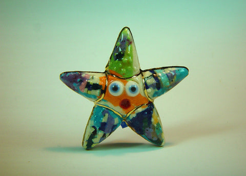 Starfish Stevo mixed media and porcelain pin