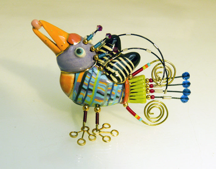 Toucan Tuscan porcelain and mixed media pin