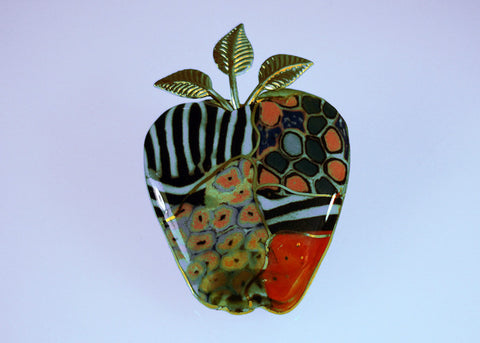 Multi-color Big Apple porcelain and mixed media pin
