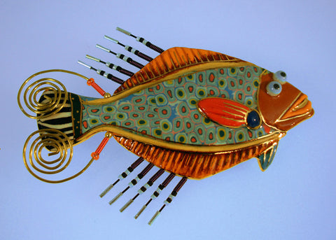 Flounder fish Porcelain and mixed media pin