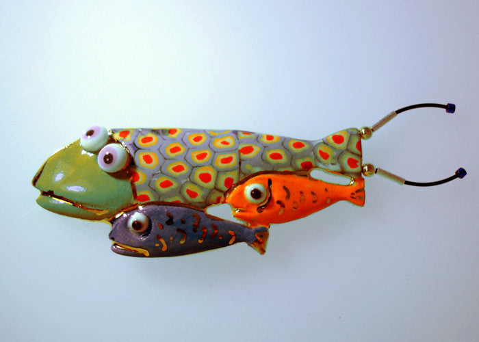Mother and baby fishes Porcelain and mixed media pin
