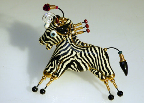 zebra porcelain and mixed media pin