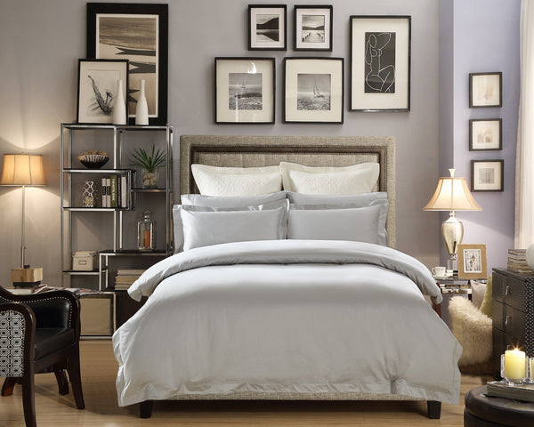 Classico Embroidery Premium Cotton Duvet Set 700TC Light Gray