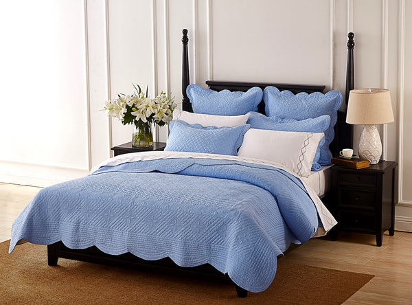 Sage Garden Luxury Pure Cotton Light Blue Quilt