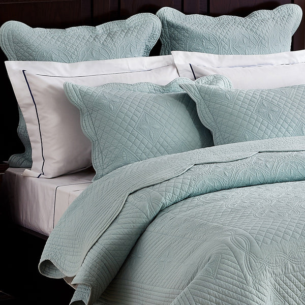 Sage Garden Luxury Pure Cotton Quilted Light Aqua Pillow Sham