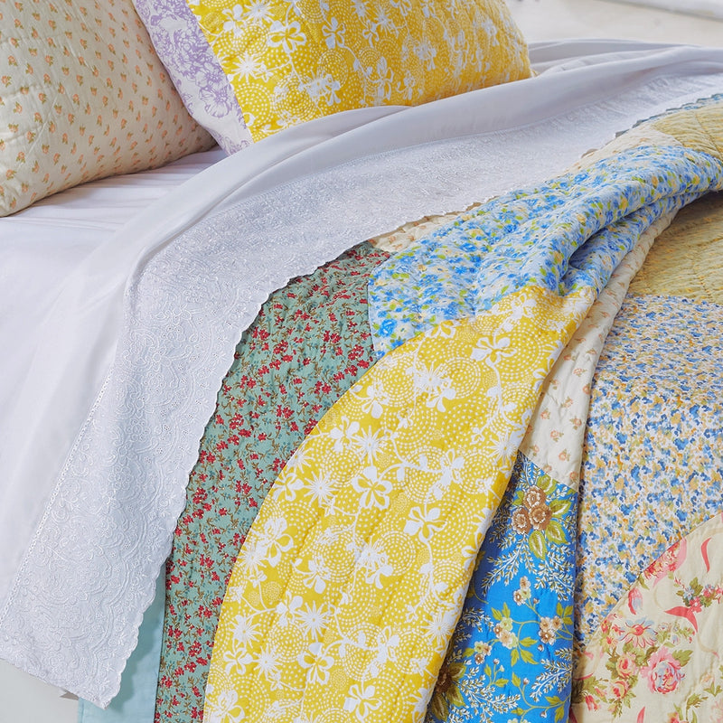 Fairview Patchwork Handmade Pure Cotton Quilt - Calla Angel  - 2