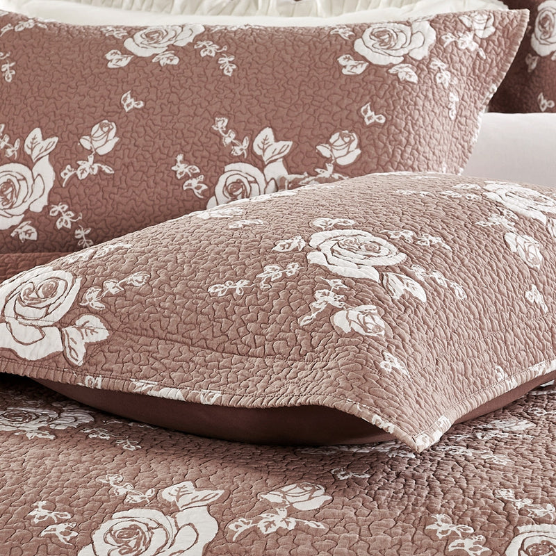 Rose Melody Luxury Hand Quilted Pure Cotton Marsala Pillow Sham - Calla Angel  - 3