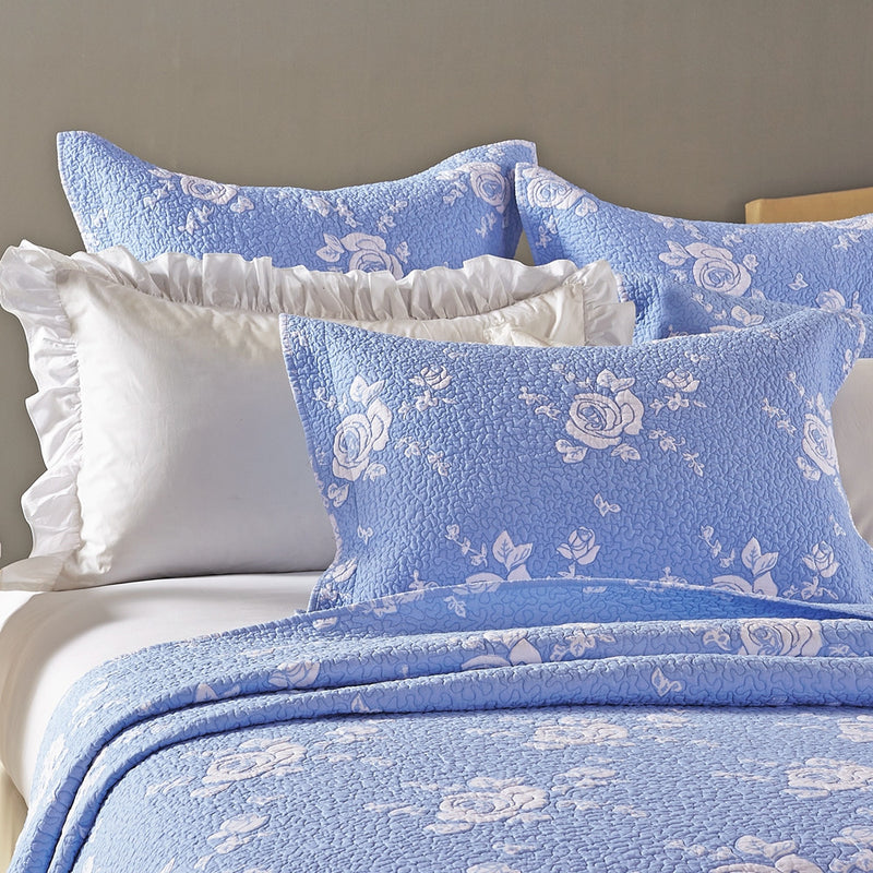 Rose Melody Luxury Hand Quilted Pure Cotton Light Blue Pillow Sham - Calla Angel  - 3