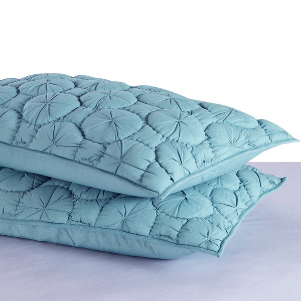 Dream Waltz Luxury Pure Cotton Quilted Fountain Blue Pillow Sham - Calla Angel  - 2