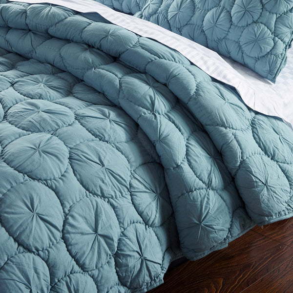 Dream Waltz Luxury Pure Cotton Fountain Blue Quilt - Calla Angel  - 2