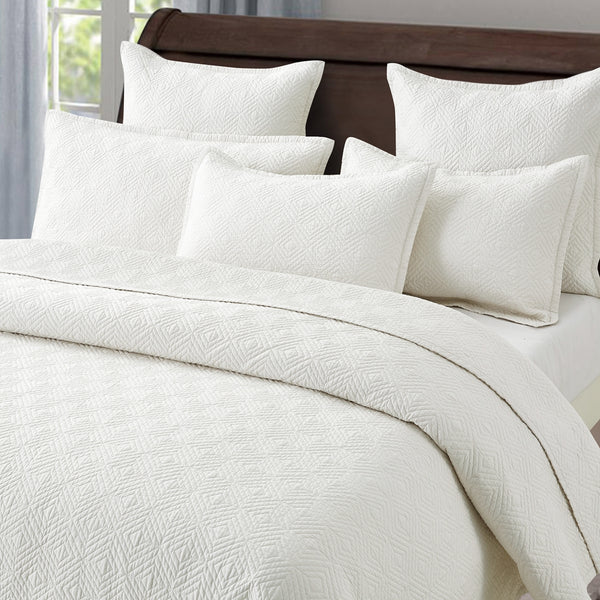 Evelyn Stitch Diamond Luxury Pure Cotton Quilt, Ivory