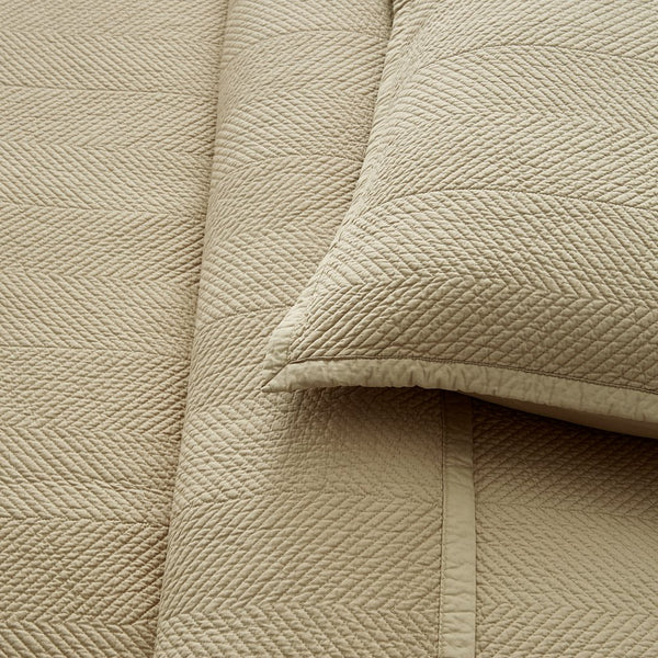 Evelyn Stitch Chevron Luxury Pure Cotton Quilted Pillow Sham, Sand