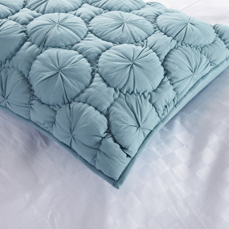 Dream Waltz Luxury Pure Cotton Quilted Fountain Blue Pillow Sham - Calla Angel  - 3