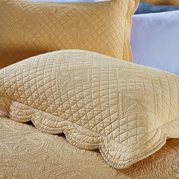 Sage Garden Luxury Pure Cotton Quilted Gold Pillow Sham - Calla Angel  - 5