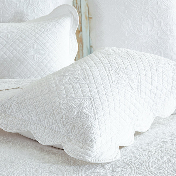Sage Garden Luxury Pure Cotton Quilted White Pillow Sham - Calla Angel  - 5