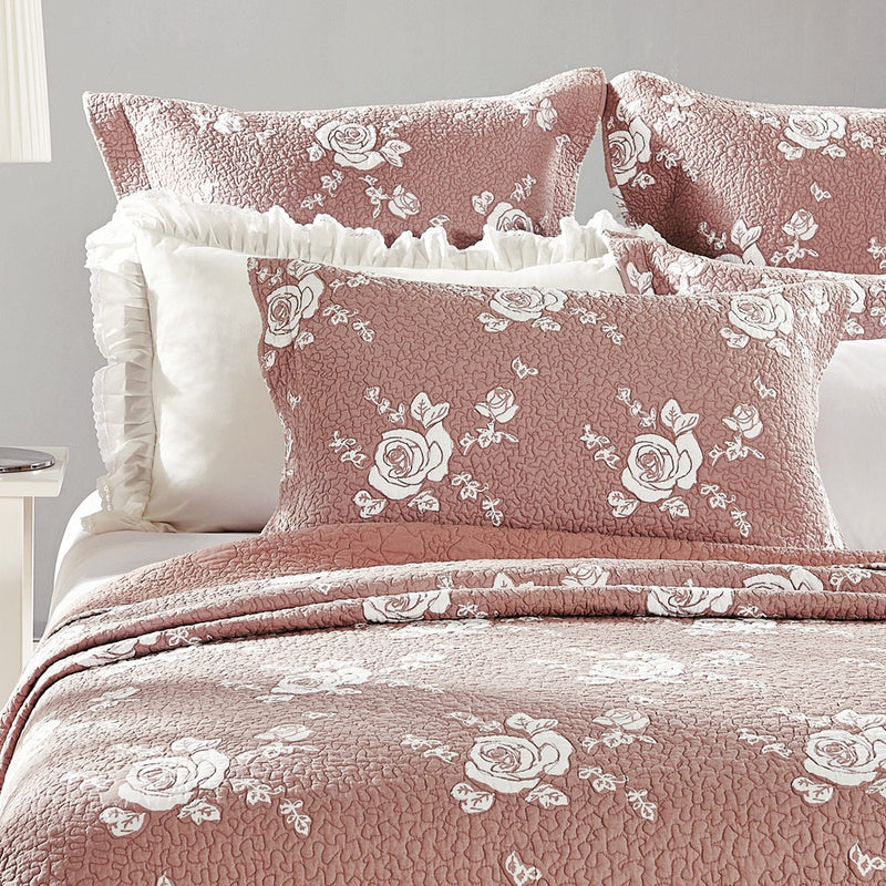 Rose Melody Luxury Hand Quilted Pure Cotton Marsala Pillow Sham - Calla Angel  - 5