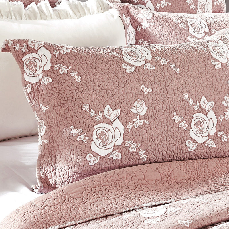 Rose Melody Luxury Hand Quilted Pure Cotton Marsala Pillow Sham - Calla Angel  - 7