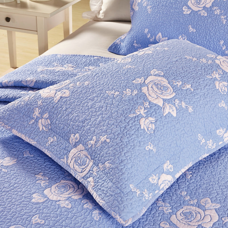 Rose Melody Luxury Hand Quilted Pure Cotton Light Blue Pillow Sham - Calla Angel  - 7