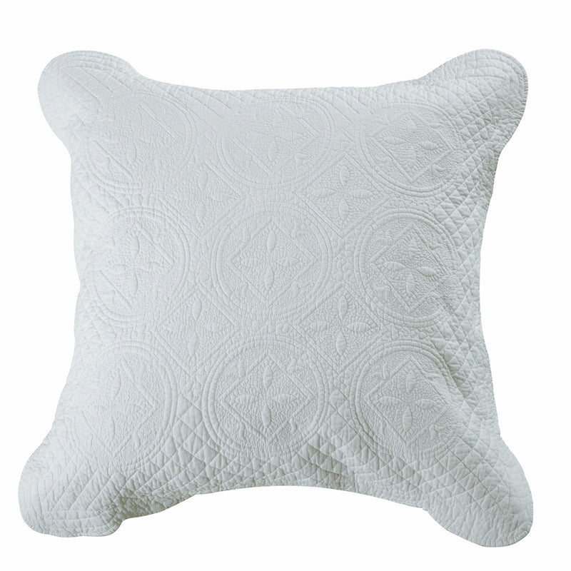Sage Garden Luxury Pure Cotton Quilted White Pillow Sham - Calla Angel  - 4