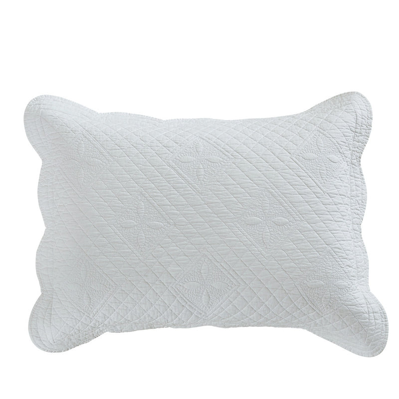 Sage Garden Luxury Pure Cotton Quilted White Pillow Sham - Calla Angel  - 2