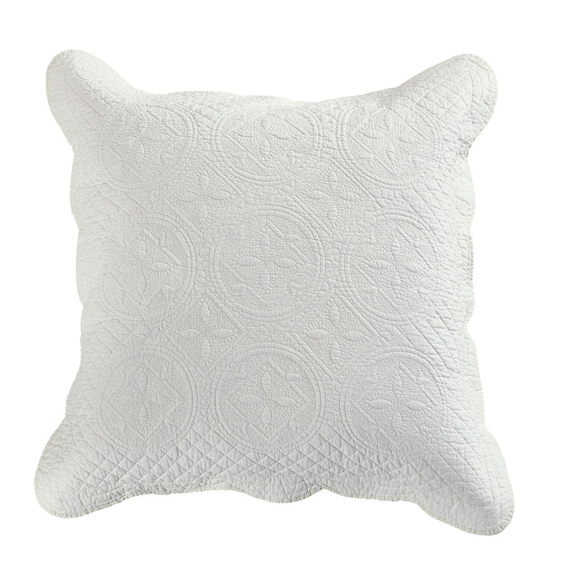 Sage Garden Luxury Pure Cotton Quilted Ivory Pillow Sham - Calla Angel  - 4