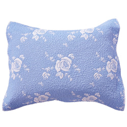 Rose Melody Luxury Hand Quilted Pure Cotton Light Blue Pillow Sham - Calla Angel  - 2