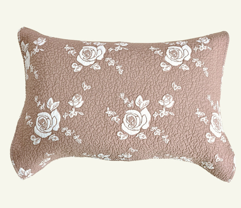 Rose Melody Luxury Hand Quilted Pure Cotton Marsala Pillow Sham - Calla Angel  - 2